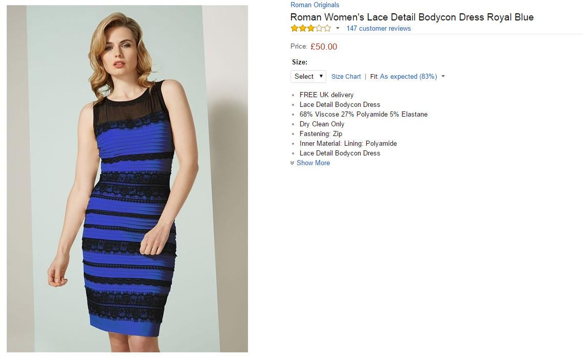 Vestido azul y negro color real